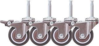 Stuurstangen, wielen voor wieg, rubberen wiel met rem, robuuste meubelwielen, schachthoogte 38 mm, met insteekgrepen, draa...
