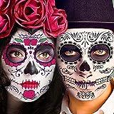 Day of the Dead Face Tattoos, 30 PCS Day of the Dead Costume Makeup Kit, Glitter Red Roses Skeleton Sugar Skull Face Tattoo Kit for Halloween Makeup, Skeleton Tattoos Temporary for Face Body Men Women