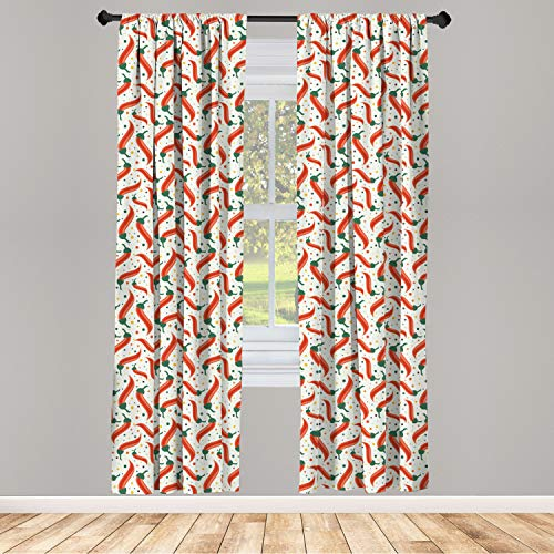 Hot Chili Peppers Pattern Curtains on Colorful Dotted Background, Window Treatments 2 Panel Set