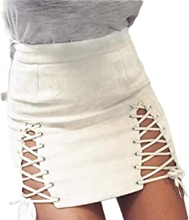 Women High Waisted Lace Up Bodycon Faux Suede Split Tight Mini Skirt