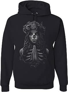 Tee Hunt Pray Girl Hoodie Calavera Day of The Dead Dia de Los Muertos