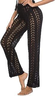HAODIAN Women High Waist Crochet Stripe Fishnet Beach Bikini Cover Up Pants with Drawstring