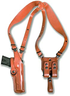 Premium Leather Vertical Shoulder Holster System with Double Magazine for Ruger SR 1911 45ACP 9/40/45 Without Rail 4.25''BBL Right Hand Draw, Brown Color #6009#