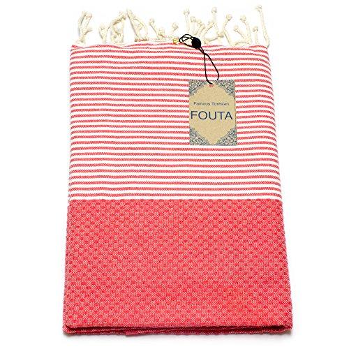 ANNA ANIQ Fouta Hamamtuch Saunatuch XXL Extra Groß 197 x 100cm - 100% Baumwolle aus Tunesien als Strandtuch, Badetuch, Pestemal, Strand-Handtuch (Koralle)