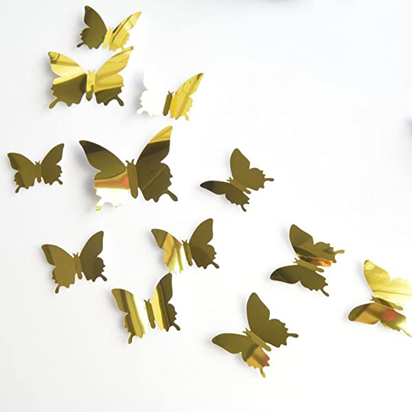 Ouniman 12 PCS Butterfly Wall Decals Stickers 3D Mirror Crafts Butterflies DIY Removable Art Decor Mural Nursery Classroom Offices Bedroom Bathroom Living Room Decoration For Kids Boys Girls Gold