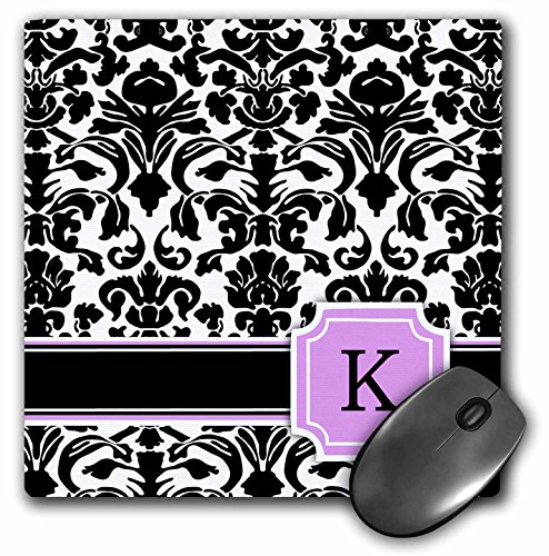 3dRose LLC 8 x 8 x 0.25 Inches Mouse Pad, Personal Initial K Monogrammed Pink Black and White Damask Pattern Girly Stylish Personalized Letter (mp_154386_1)