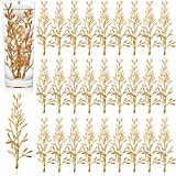 80 Pieces Artificial Flowers for Floating Candles Centerpiece Vase Fillers Filling in Floating Candles Mini Golden Flower Filler for Wedding Dinning Table Party Home Bar Restaurant Decoration, 6 Inch