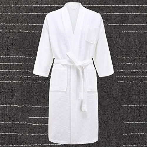 KTUCN Katoenen gewaden, zomerjas voor dames, nachtkleding voor heren, badjas met grote maten handdoek Lange gestreepte badjas, Wit, M
