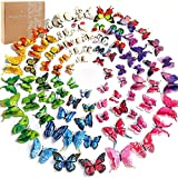 YGEOMER 96pcs 3D Butterfly Wall Decals Colorful Butterflies Decor Removable Mural Stickers Home Decorations with Double Wings, 8 Colors with Magnets for Kids Bedroom