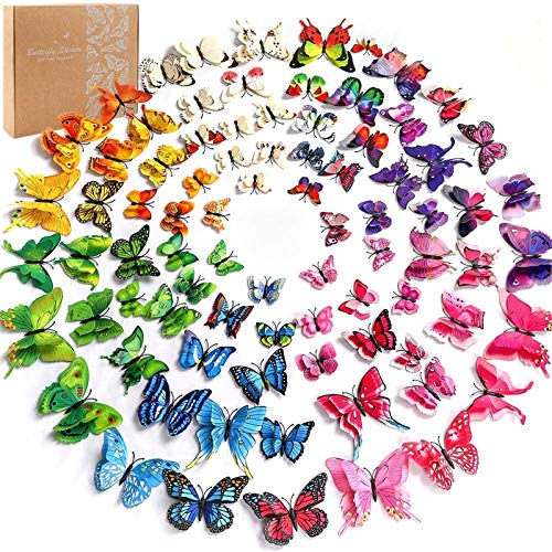 YGEOMER 96pcs 3D Butterfly Removable Mural Stickers Wall Stickers Decal with Double Wing, 8 Colors, 1 Sheet of Dot Glue Stickers in per Pack, with Magnets