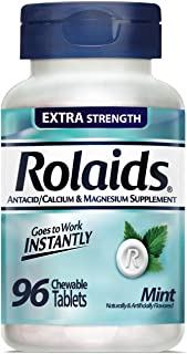 Rolaids Regular Strength Antacid Chewable Tablets, Mint, 120-Count