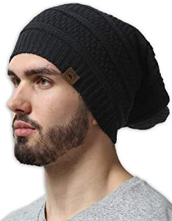 Slouchy Cable Knit Beanie for Men & Women - Winter Toboggan Hats for Cold Weather - Thick, Warm & Stylish Chunky, Oversized Slouch Beanie Cap - Serious Beanies for Serious Style