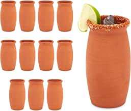 Clay Mugs for Cocktails, Cantaritos de Barro, Mexican Pottery Cups (12 Pack)