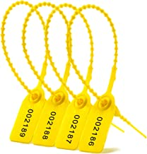 1000 Numbered Plastic Tamper Evident Seals, Pull Tite Security Tags - Zip Ties Disposable Self-Locking Signage - Label Safety Locks (1000 PCS, Yellow)