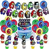 YUIP Among Us Suministro de Fiesta de Cumpleaños Superhéroes Videojuegos Decoraciones de Fiesta Happy Birthday Banner Globos de Látex para Among Us Theme Party Favor Set de suministros