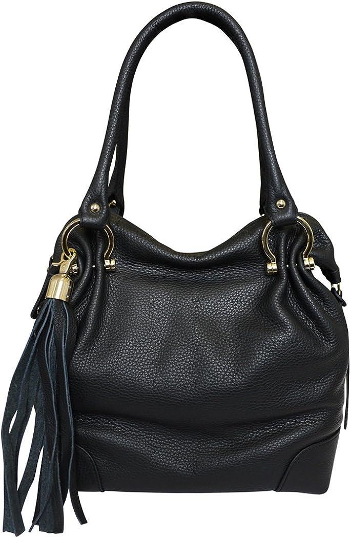 Carbotti Designer Italian Leather Tassel Hobo Handbag Shoulder Bag - Black