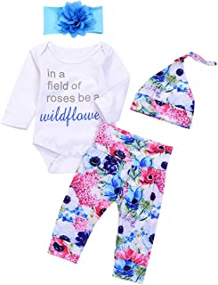4Pcs Infant Baby Boy Girls Letters Long Sleeve Romper+Flower Pant+Hat+Headband Warm Clothes