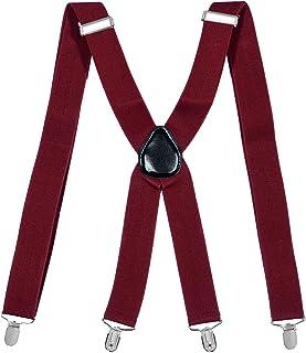 35mm X-Shape Unisex Extra Wide Adjustable Elastic Mens Suspenders Clip On Braces Trouser ac4615