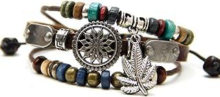 Agathe creation - YS750 - Bracelet en Cuir Mixte tibétain Porte Bonheur - Feuille de Cannabis - Fait Main