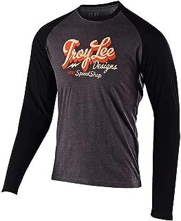 Troy Lee Designs Mens Long Sleeve Vintage Speed Shop T-Shirt (X-Large, Charcoal/Black)