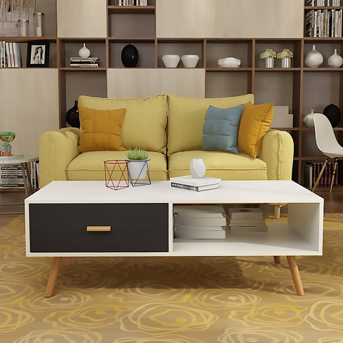 FangsGo Modern Coffee Table Save money Tampa Mall with Storage Shelf Drawer Rectan and