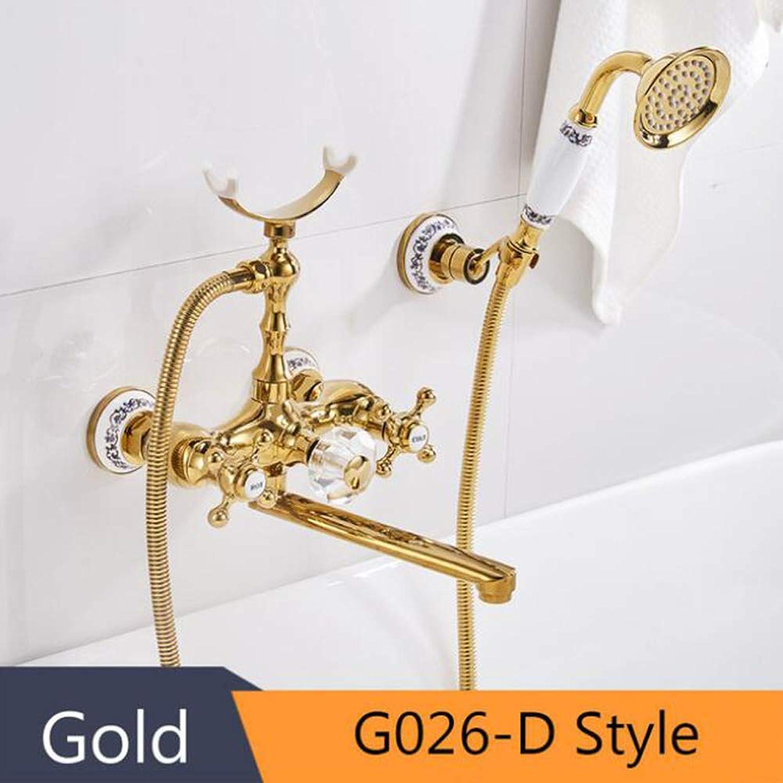 Badewanne Wasserhhne Luxus Gold Messing Bad Wasserhahn Mischbatterie Wand Montiert Hand Duschkopf Kit Dusche Wasserhahn Sets,GoldG026D