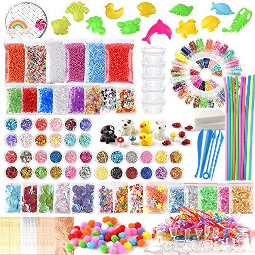 FEPITO 178 Pcs Slime Kit Accesorios incluyendo bolas espuma,
