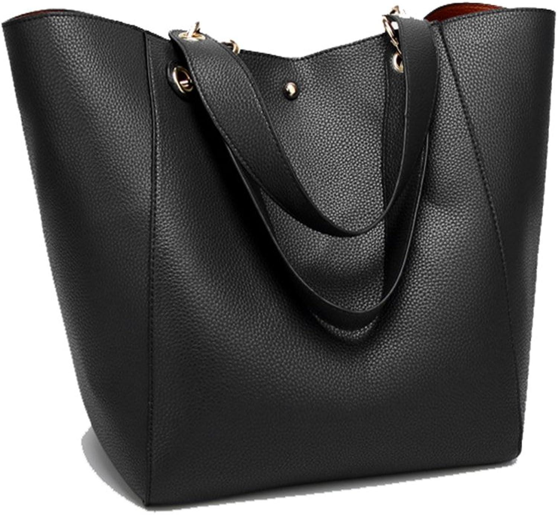 Leather Tote Widen Shoulder Strap Bag with Wallet Bag Set for Women