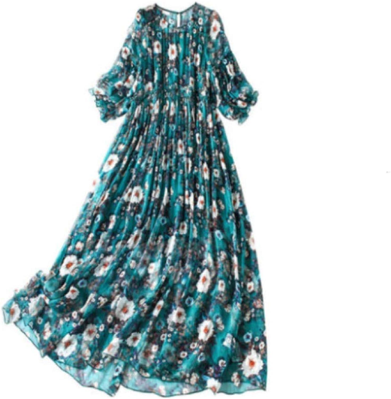 Wangsumei Dress,Summer Dress,Silk Cropped Sleeves Floral Casual Dress Round Neck Beach Skirt Ruffled Dress Dark Green