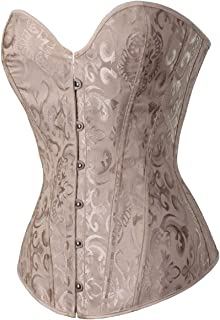 1ac4c9bb98 GoodmanShop Sue Shop Womens White Floral Overbust Lace up Corset Bustiers