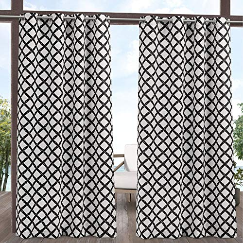 Exclusive Home Curtains Bamboo Trellis Indoor/Outdoor Light Filtering Grommet Top Curtain Panel Pair, 54x96, Black/White