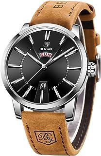 Benyar Montre Homme Mouvement à Quartz Bracelet en Cuir Cadran en Acier Inoxydable Minimaliste Business Montre Étanche 30m...