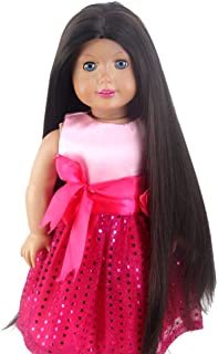 STfantasy Doll Wig for 18 Inches Doll Girls Gift Black Brown Long Straight Synthetic Hair