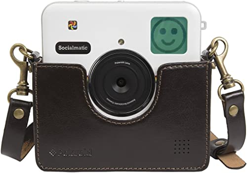 high quality Polaroid Custom Designed Vintage-Inspired high quality outlet sale Genuine Leather Cradle for Polaroid Socialmatic - Removable Neck Strap Included - Brown online