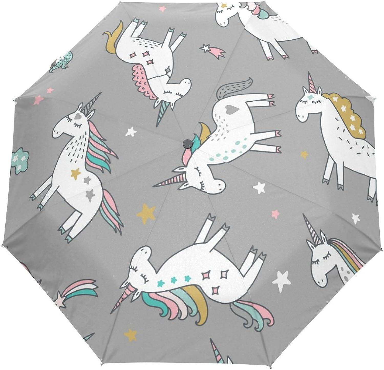 MASSIKOA Unicorn Magic Stars Umbrella Double Sided Canopy Auto Open Close Foldable Travel Rain Umbrellas
