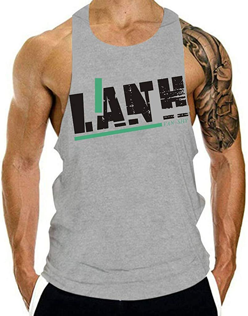 F_Gotal Men's Gym Tank Tops Workout Muscle Tee Solid Color Muscle Training Bodybuilding Stringer Fitness Vest T Shirts