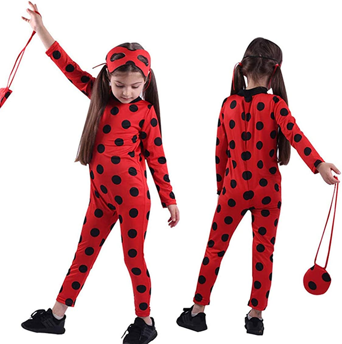 JIMMY Child Size Cosplay Costume Spot Red Jumpsuit with Headwear for Birthday Party Little Beetle Suit Set 6pcs//Bag