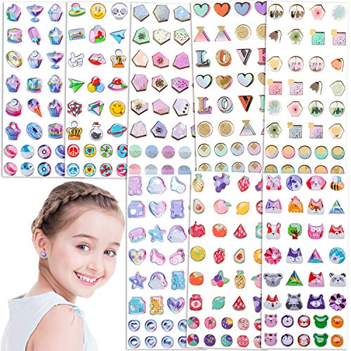 Qpout 272 Piezas Stick on Earrings 3D Gems Glitter Crystal Sticker Pendientes Sticky Self-Adhesive Earrings for Little Girl'S Toddlers Dress up Pretend Princess Play Jewelry Accesorios para niños