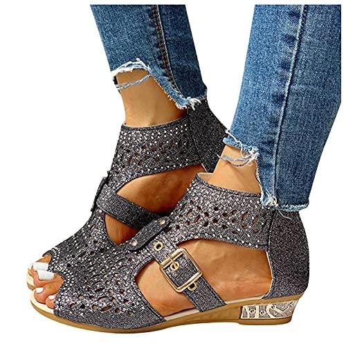 Eduavar Gladiator Sandals for Women Flat Women's Open Toe Fashion Flat Sandal Rhinestone Slip-On Flip Flop