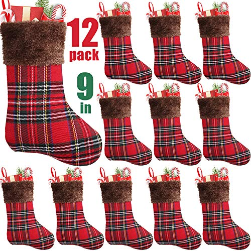 PartyBus 9 Inch Mini Christmas Stockings 12 Pack, Small Rustic Plaid Faux Fur Xmas Tree Decorations Bulk, Gift Card Holders Cash Bags Holiday Treats for Family Coworkers Neighbors Kids Dogs Cats