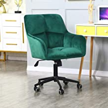 Modern Home Office Desk Chairs 360°Swivel,Comfort Velvet Upholstery Accent Chair for Desk on Rolling Wheels, Adjustable Sw...