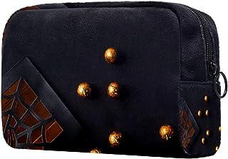 Halloween Spider Balls Makeup Bag Toiletry Bag for Women Skincare Cosmetic Handy Pouch Zipper Handbag