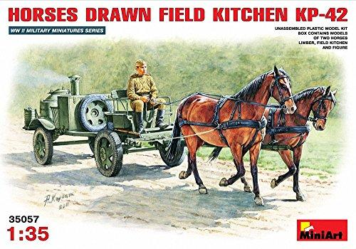 ミニアート 1/35 ソビエトフィールドキッチン2KP-42 牽引馬2頭付 MA35057 プラモデル