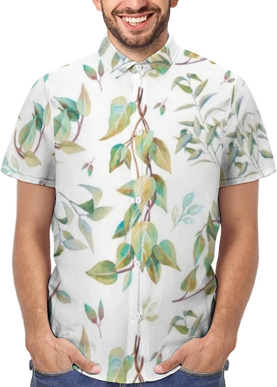 Classic Fit Short Sleeve Button Down Shirts for Men Leaves Background Seamless Summer Hawaiian Shirt Big & Tall