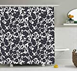 Presock Floral Duschvorhang, White Sketchy Hand Drawn Gardening Plants Big Dandelions Flowers Leaves Print, Fabric Bathroom Decor Set with Hooks, 60 x 72Inch Extra Long, Black and White