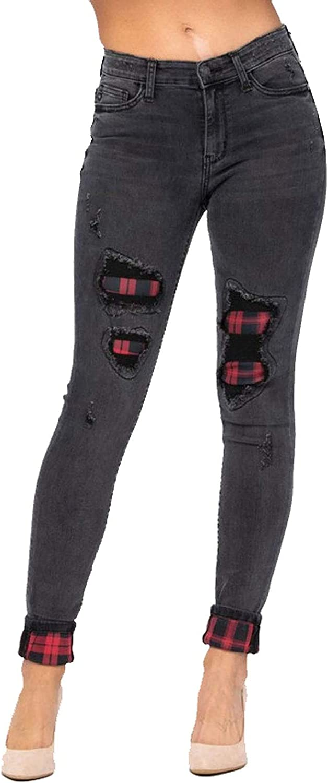 Judy Blue Black Cuffed Buffalo San Francisco Mall Jeans Plaid Stretch Skinny store Patch