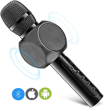 Karaoke Microphone, MODAR Wireless Microphone Handhold Mic Bluetooth Speaker 3.0, Gift 3-in-1 Dual Speakers Built-in Chargeable Battery for Outdoor Home Party KTV Playing Singing Music (Mat Black)