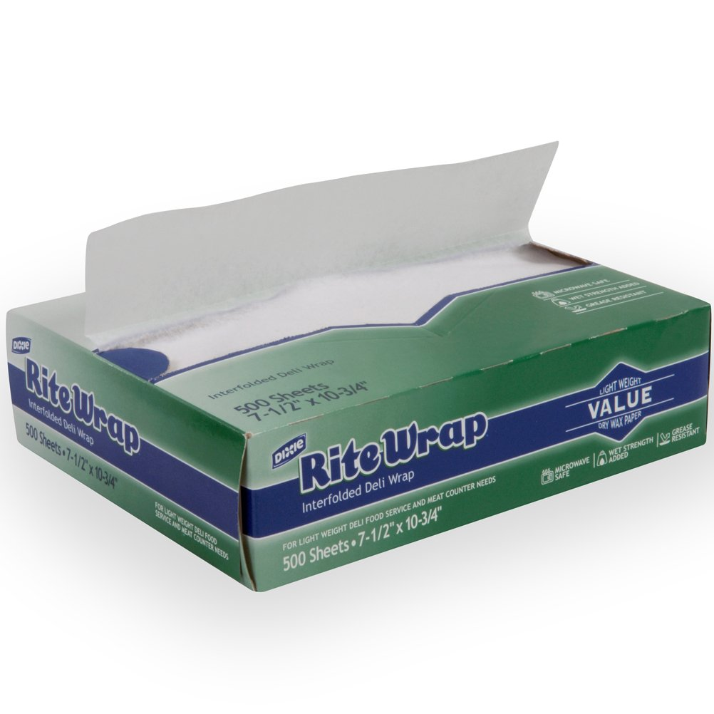 Dixie Rite-Wrap Light-Weight Interfolded Dry Wax Deli Paper by GP PRO 9Georgia-Pacific), RW86W, White, 10.75