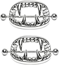 New Beautiful Nipple Ring Amazing Flower Surgical Steel Heart Nipple Shield Bar Ring Body Piercing Jewelry - 1pair Vampire Teeth Nipple