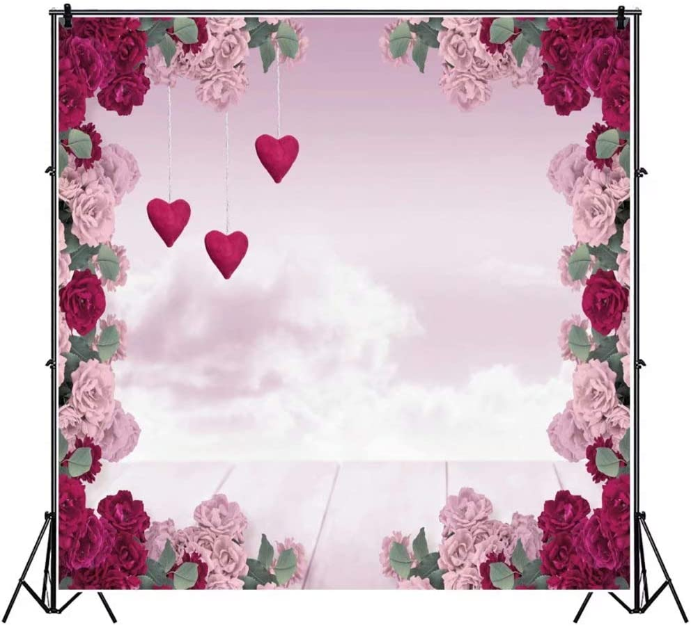DaShan 6.5x6.5ft Bridal Shower Wedding Floral Wall Backdrop Romantic Bloom Flower Decor Photography Background Flower Birthday Party Newborn Baby Decor Valentine Mother Girls Floral Photo Props